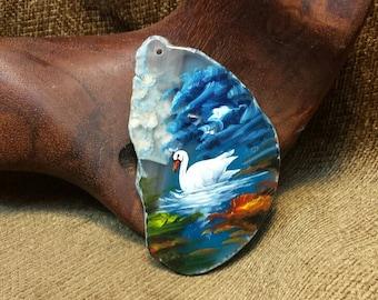 Swan Hand Painted on Agate Slice