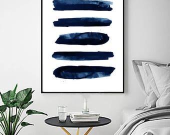Blue Abstract Watercolor Print Indigo Blue  Navy Wall Art Stripes Minimalist Art poster Geometric Art Minimal Lines Large Abstract Painting