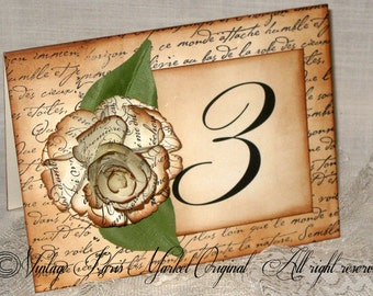 French Vintage Style French Script 3D Hand Sculpted Flower Luxury Table Numbers/Names Wedding Original Design