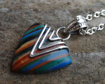 "Rainbow Calsilica Sterling Silver Pendant Necklace - 18"" Sterling silver Chain - Natural Stone Necklace - Handmade Pendant Necklace"