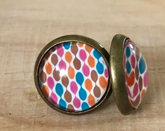 Colourful retro brass stud earrings