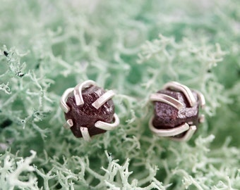 Rough gemstone stud earrings with Garnet crystals, sterling silver