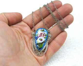 Easter gift for mom Russian Finift Necklace blue white enamel pendant on silver chain USSR Vintage jewelry Floral necklace Retro fashion