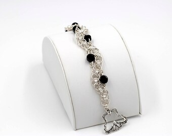 Sterling Silver Helm Weave Chainmaille Bracelet with Black Swarovski Crystals
