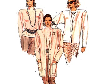 80s Vogue 9668 Loose Fitting Above Hip or Above Mid Knee Cardigan and Fitted Top, Uncut, Factory Folded, Sewing Pattern Size 8-10-12