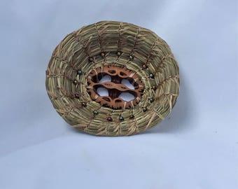 Sweetgrass Basket with Walnut