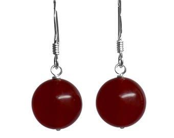 10mm Genuine Dyed Red Jade Gemstone Bead / Ball / Sphere 925 Sterling Silver Drop / Dangle Earrings Pair