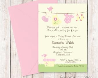 Baby Girl Baby Shower Clothesline Invitation, Printable Invitation Design, Custom Wording, JPEG File