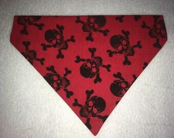 Handmade slip on  skull and crossbones bandana