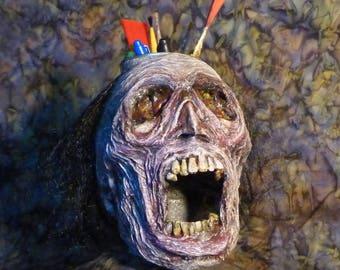 Corpse organizer pencil holder, creepy screaming head, desk organizer, Halloween prop, gruesome ornament, brush holder, makeup organizer