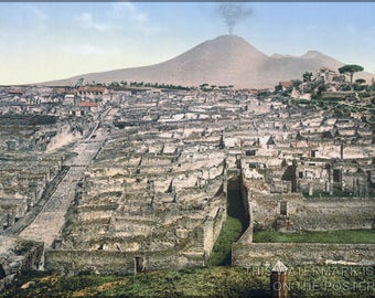 Poster, Many Sizes Available; Pompeii  With Mount Vesuvius - General View And Vesuvius. C1890