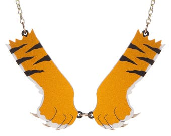 Tiger Paws necklace - laser cut acrylic