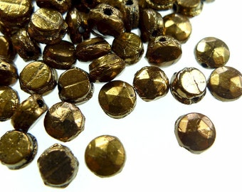 Nailhead glass beads faceted metallic bronze