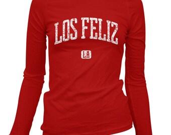 Women's Los Feliz Los Angeles Long Sleeve Tee - S M L XL 2x - Ladies' T-shirt, Gift For Her, Girl, Los Feliz Shirt, LA Shirt, Laughlin Park