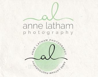 Photography logo design - Watercolor logo DIY digital download psd logo - Watermark and circle logo 2 psd files