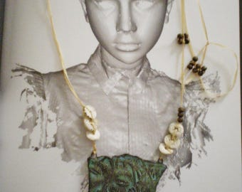 ARTISANAL VERNISSEES EARTH CERAMICS NECKLACE AND VERDIGRIS