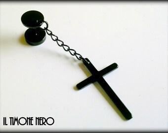 "Titanium Black Cross Chain Pendant Earring ""Dark Cross"" Il Timone Nero"