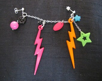 Funky kitsch colourful charm earring