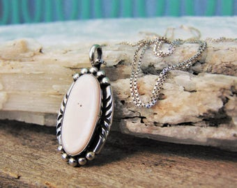 Mother of Pearl Pendant on Sterling Silver Chain MOP Necklace Native American Jewelry Vintage Deadstock Boho Jewelry