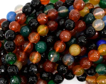 """10mm faceted agate round beads 15"""" strand multicolor S1 38852"""