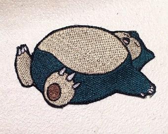 Snorlax Pokemon Nintendo Embroidery Embroidered Iron On Patch Sleeping Snorlax
