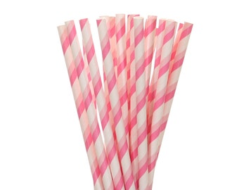 Paper Straws, Light Pink and Hot Pink Striped Paper Straws, Pink Striped Straws, Baby Shower, Gender Reveal Party Decor, Girl 1st Birthday