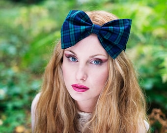 Green Tartan Headband, Dolly Bow, Bow Headband, Oversized Bow Headband, Rockabilly Pin Up Girl Headband, Big Bow Headband