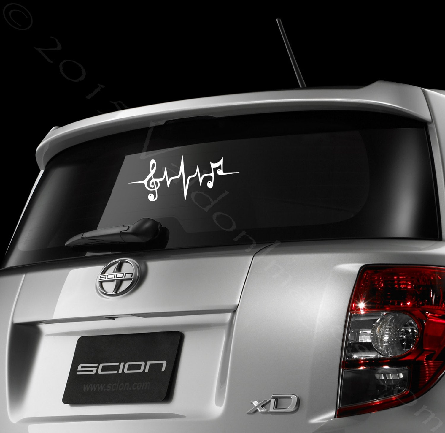 Music Note Car Decal Heartbeat Car Sticker Laptop Decal