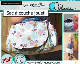 Sac à couche jouet PDF / Patron Français / Sac poupée / patron de sac / Sac enfant / Evelune