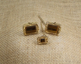 SALE Vintage Cuff Links, Men's Gold Tone Cuff Links, 1970's Tiger Eye Cuff Links & Tie Tac, Ready to Ship Under 15, SALE****SALE