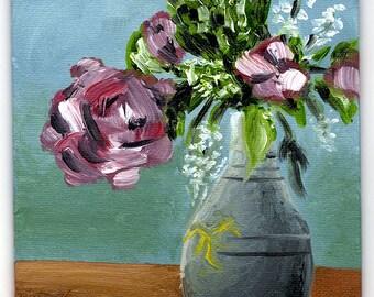 Oil Florals 01 / Original Art / Painting / Abstract / Flowers / Vase / Still Life / Mini / Canvas / Mom
