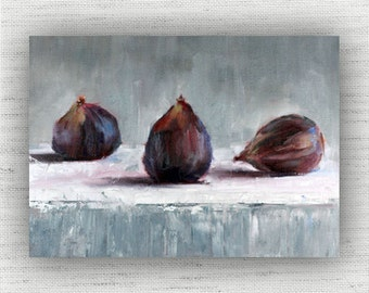 Fig Painting Print of Still Life Oil Painting Home Decor Wall Art - Rustic Kitchen Food Room Decor, Cottage Style Dining Room Art Print