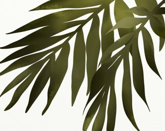 Palm Leaf Wall Art Print, Tropical Decor, 8 x 10 Print, Green Leaves, Botanical Art, Beach House Decor