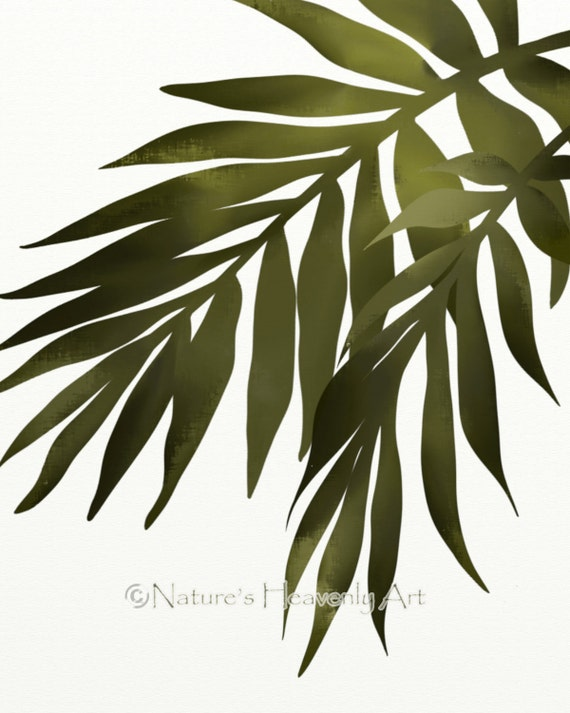 Palm Leaf Wall Art Print Tropical Decor 8 x 10 Print Green
