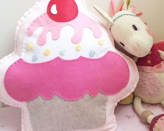 Cupcake pillow, soft fleece pillow