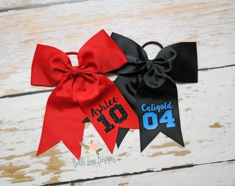 Team Order for Sports Bow with Attached Pony with Name & Number, Choose Your Colors | Team Bow | Sports Bow | Softball Bow | 014