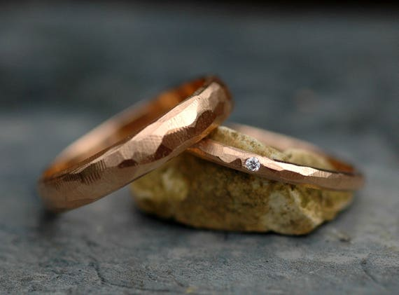 18k Gold Wedding Band Set- Two Rings, Custom Made, Faceted Geometric Texture