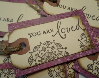 """12 GIFT TAGS-""""You are Loved"""" Gift Tags-Love Notes-Lunch Box Notes (12) twelve tags (1.75""""x3"""")"""