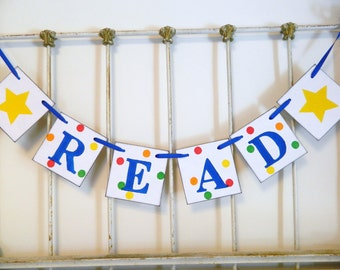 Back to School Decorations - Reading Corner Banner - Teachers Gift - Classroom Decorations - Babys Library Decoration