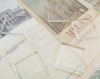 """100 Glass Tiles 7/8"""" 22.2mm - Square Tiles - Clear Flat Tiles -  For Photo Pendants Trays - 7/8 inch 22mm Tiles - 4mm Thick Glass Cabochon"""