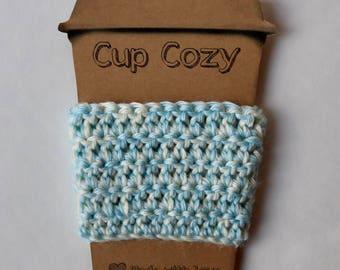 Light blue and cream economically friendly coffee cozy