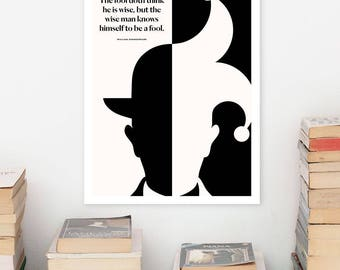 SHAKESPEARE Literary Art Print, Large Wall Art Posters, Literary Quote Poster, Illustration, Minimalist Prints, Bookish Gift for Writer