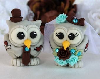 Tattoo wedding cake topper, tattooed owl bride and groom, chocolate turquoise wedding with banner