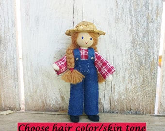 Girl Farmer Doll - Woman Farmer Doll - Dollhouse Doll - Dollhouse People - Wooden Toy Farm - Bendy Doll - Wool Felt