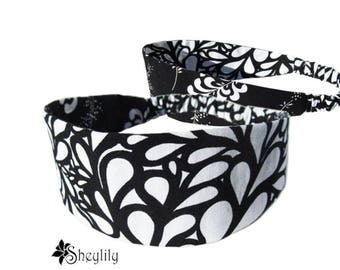 Black White Headband - Floral Headband - Reversible Headband - Yoga Headband - Bandeau Headband - Fashion Headband - Hair Loss Headband