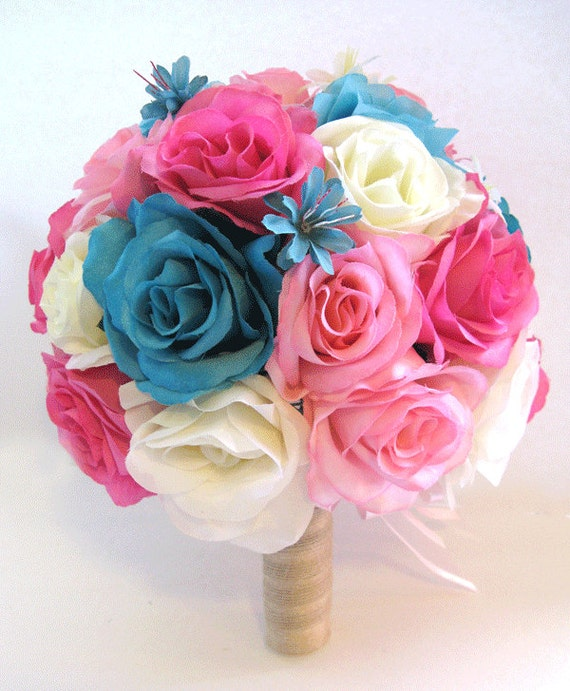 Turquoise Fuchsia Wedding: Wedding Silk Flowers Bouquet Bridal HOT PINK TURQUOISE Aqua