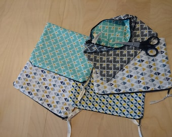 Zippered cotton pouch