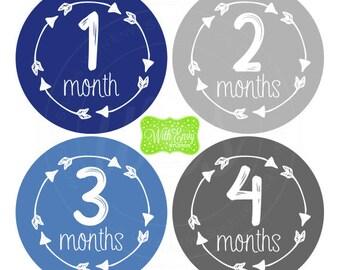Boy Milestone Stickers - Blue and Grey Baby Stickers - Arrow Milestone Stickers - Baby Boy Stickers - Baby Boy Monthly Stickers - 060