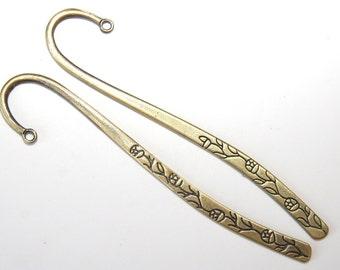 2 PCs bookmark blank / metal bookmark / roses / antique bronze tone / 122mm   LZ11