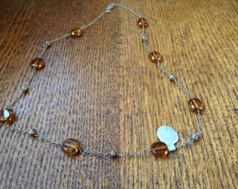 Handcrafted Wirewrapped Sterling and orange bead necklace